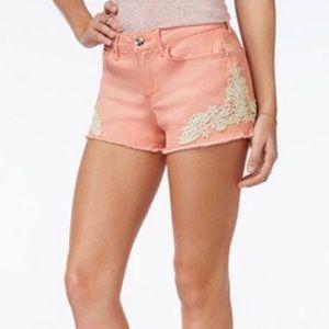 Jessica Simpson Jean Short Pink 28 Cut Off Crochet